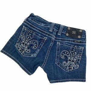 Miss Me Fleur de Lis embroidered studded denim jean shorts. Size 26